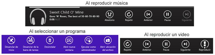 Acciones de la barra de aplicaciones en Windows 8