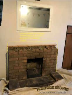 Fireplace before excavation site survey estimated knockout
