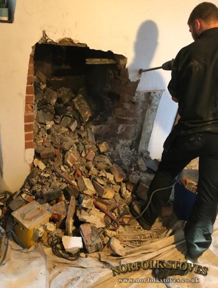 Fireplace excavation by Norfolk Stoves Ltd