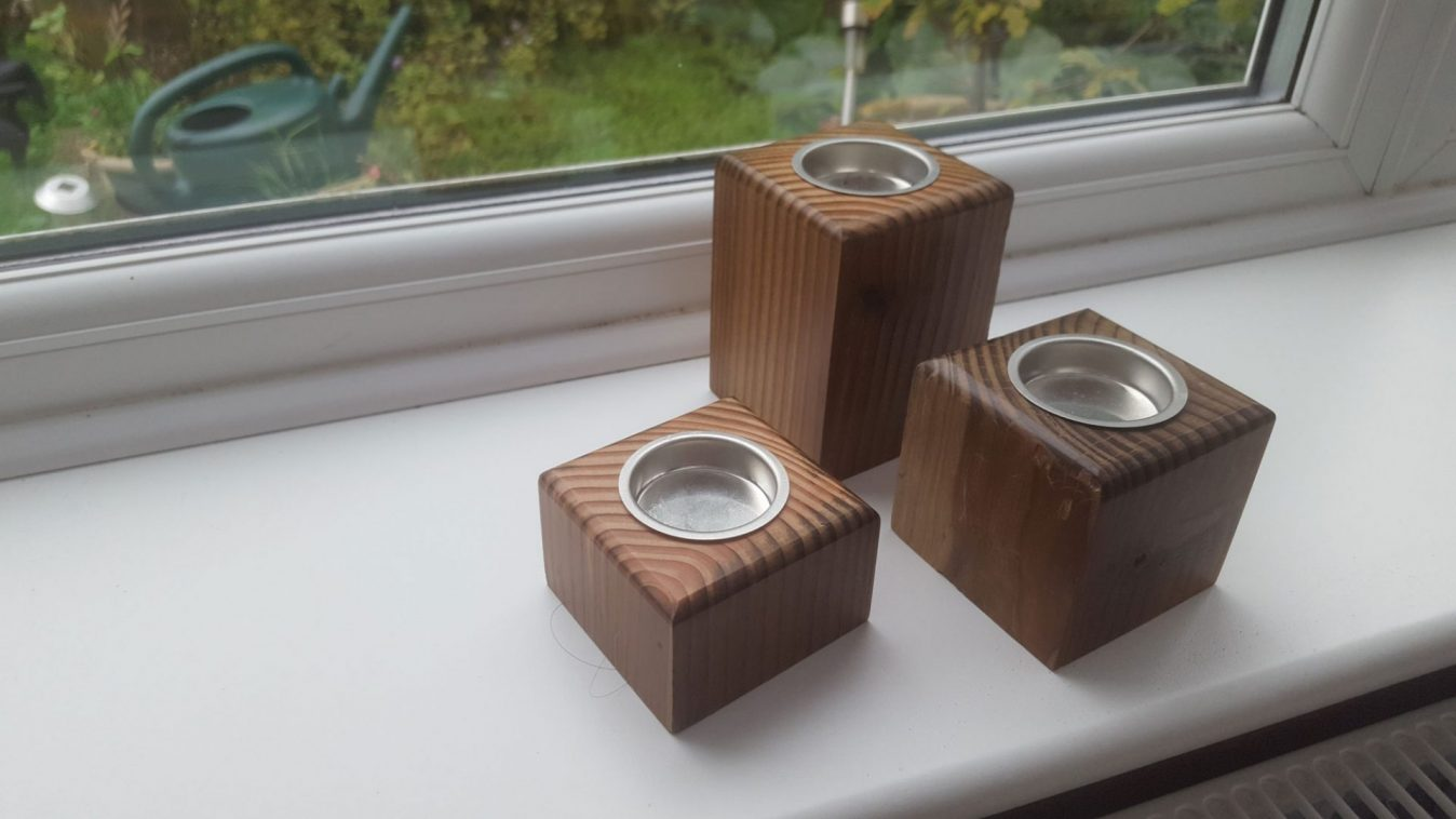 Up-cycled tea light holder