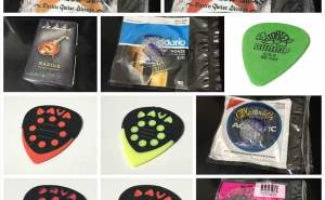 Wyres M140 800円、DAVA ピック 120円、MLピック 50円、Tortex 70円、ラベラ HRS 750円、EJ11 640円