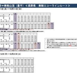 2020シャトルバス時刻表