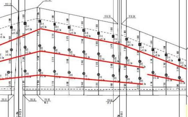 擁壁のアンカーの図面