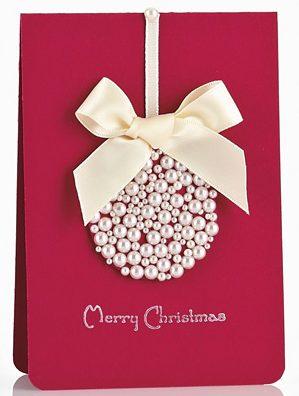 クリスマスカード簡単手作り彼氏におしゃれカードや飛び出す可愛いカードパールリボン上品大人