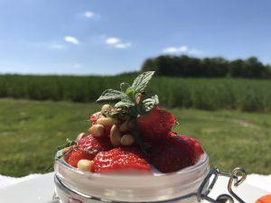 Nachtisch mit Erdbeeren – kleine Einmachgläser sehen schön aus und eignen sich daher gut für das Dessert.