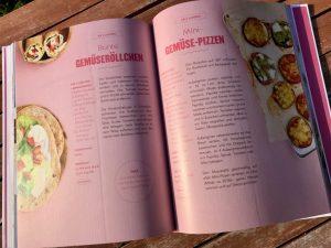 Schöne Fotos illustrieren die Rezepte für bunte Gemüseröllchen, Mini-Gemüse-Pizzen & Co.