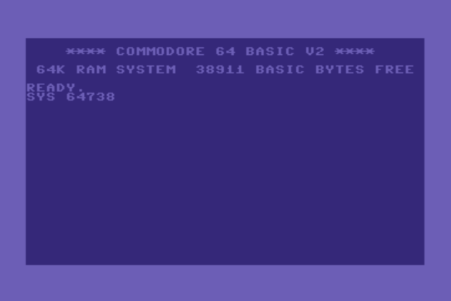 SYS 64738 basic command entered on the Commodore 64 computer start screen .
