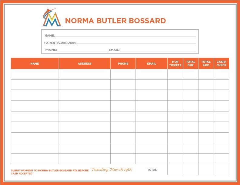 Norma Butler Bossard Marlins Order Form