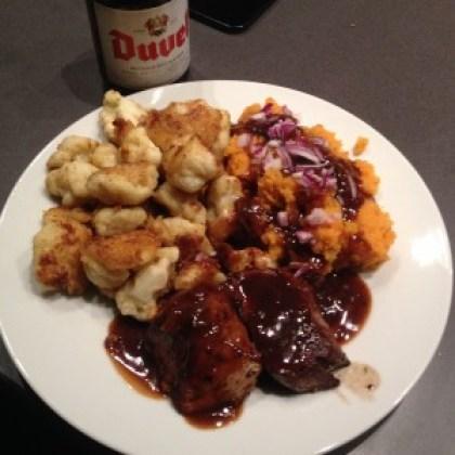 bloemkool in bierbeslag, kalf, zoete aardappel