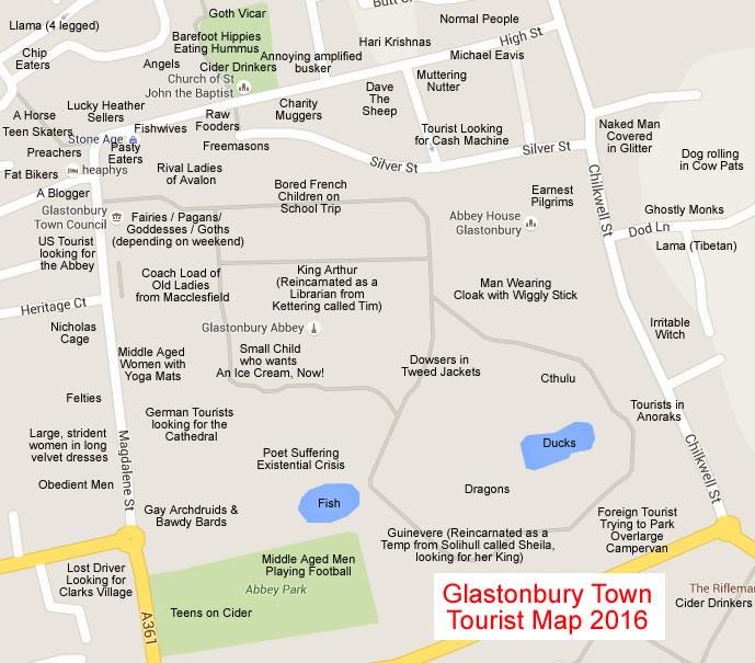 A funny map of Glastonbury Town