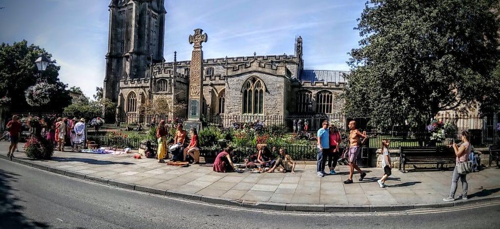 Hippies outside St John's Church in Glastonbury High St