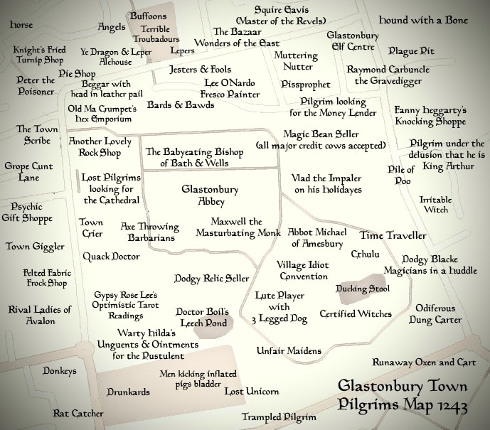 Glastonbury Town Medieval Pilgrims Map