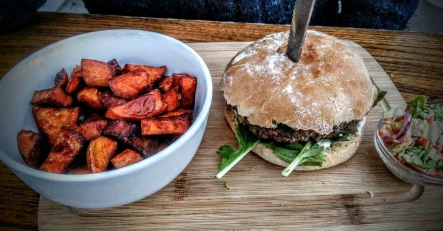 Burger and Sweet Potato Chips at the Riflemans's Arms, Glastonbury
