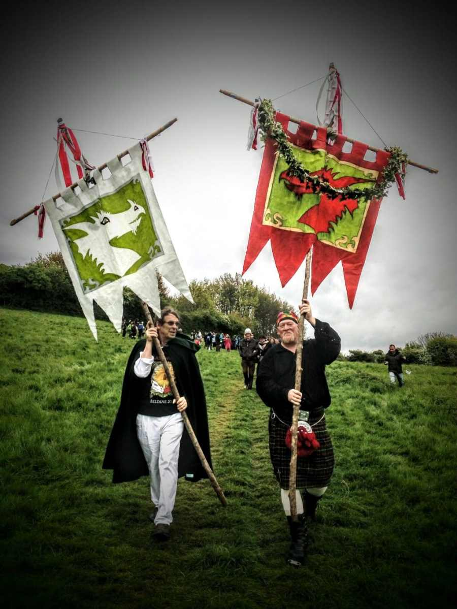 Dragon Banners, Beltane Celebration, Glastonbury Tor 2017
