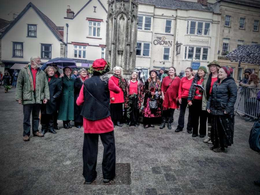 Avalonian Free State Choir on Glastonbury Market Cross
