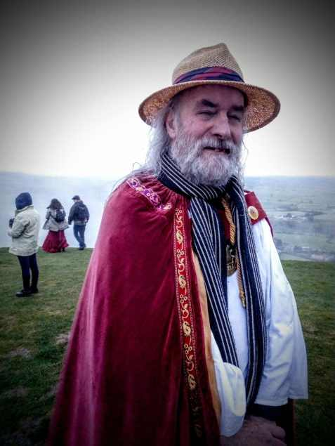 Rollo Maughling, Glastonbury Druid, may Day Morning 2017 on Glastonbury Tor