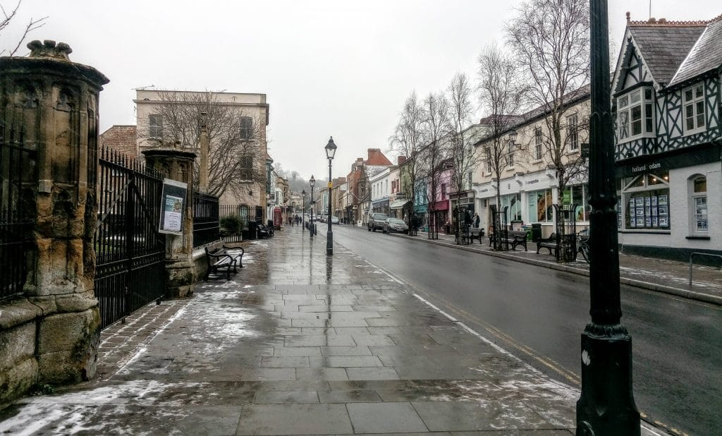 Glastonbury High Street after the snow