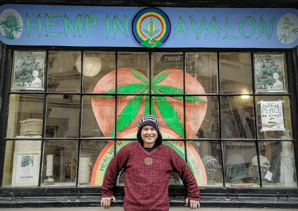 Free Cannabis outside Hemp in Avalon Glastonbury