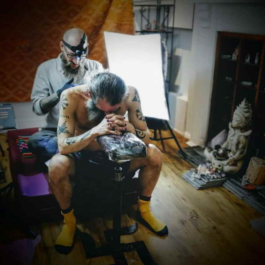 Reuben tattooing in the Heart Land Temple