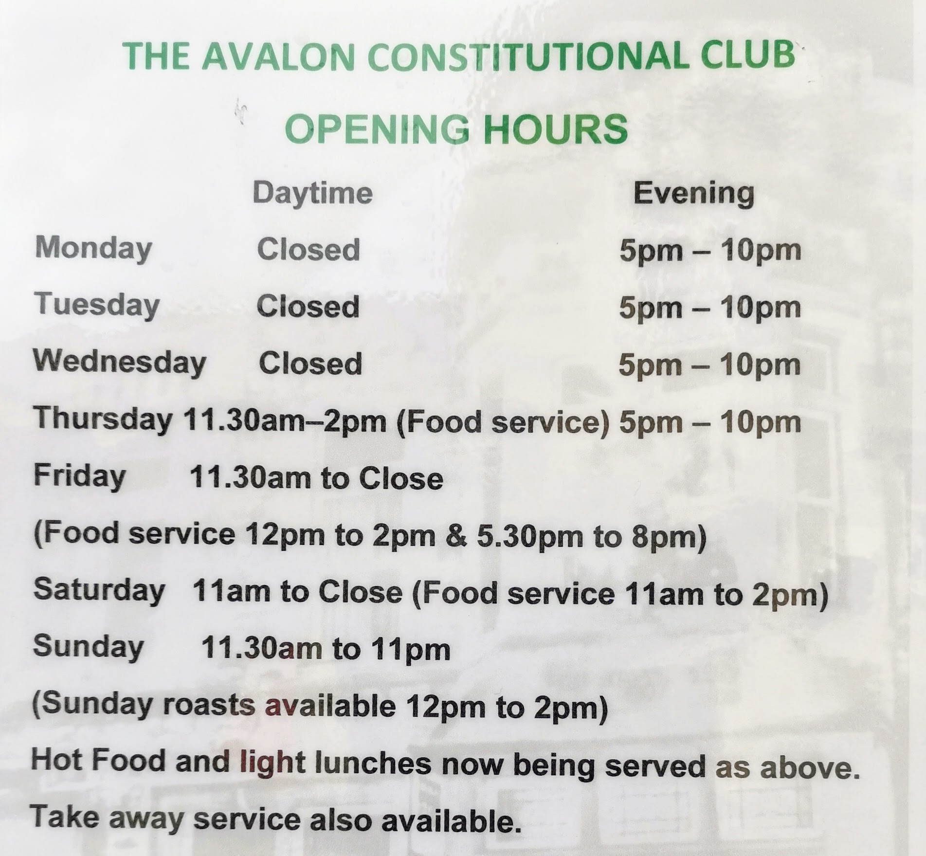 Avalon Club Opening Hours