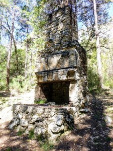 Abandoned and hidden fireplace and chimney