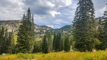 Mountain views along the Cecret Lake Trail