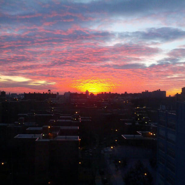 No filter sunrise over Brooklyn, New York