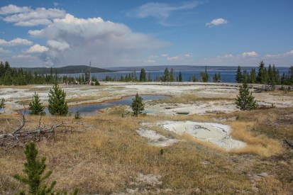 West Thumb Geyser Basin and Forest Fire in background