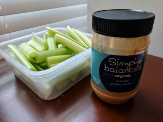 Celery and peanut butter - a delicious snack!