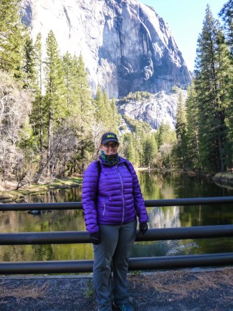 Hanging out on El Capitan Bridge, Horsetail Fall in the background
