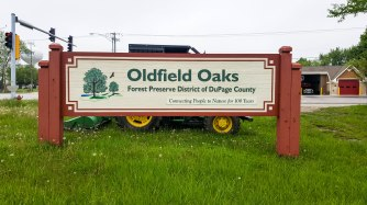 Oldfield Oaks sign from the road