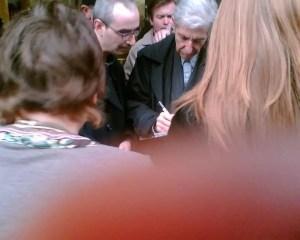 Leonard Cohen with fans in London