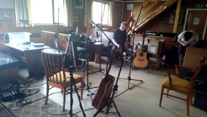 Bridge of Orchy Ski Lodge set up as a recording studio.