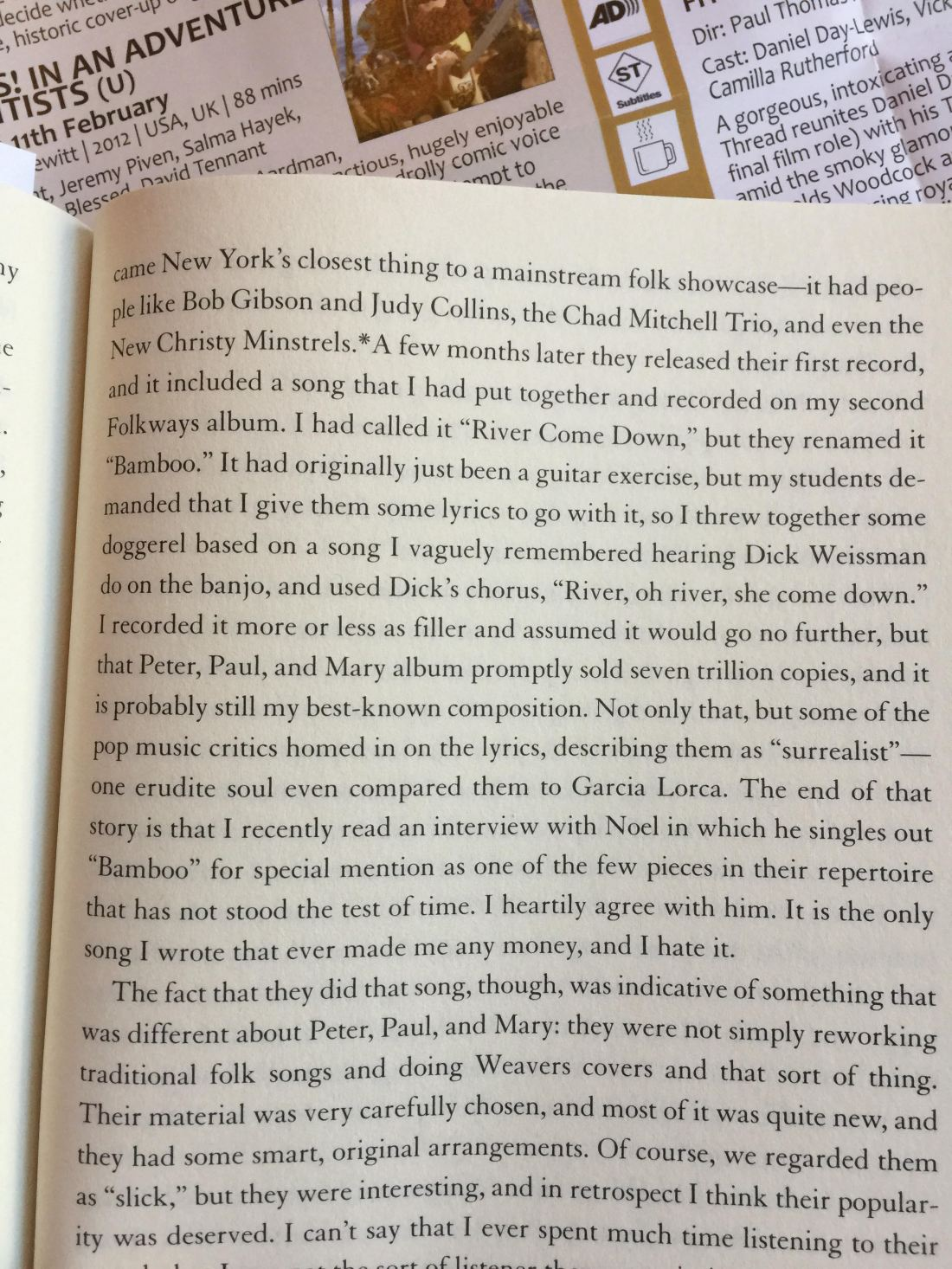 Page from Dave van Ronk's autobiography (click to expand)