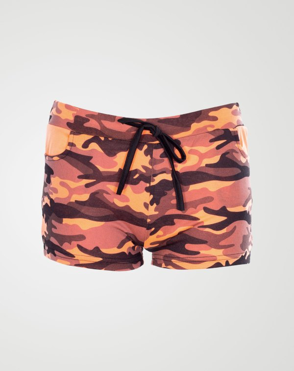 Image 1 of Girls Camo Print Hot Pants Shorts of color Coral from Noroze
