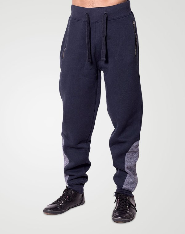 Image 1 of Mens Contrast Ankle Bottoms color Navy and sizes S, M, L, XL, 2XL from Noroze