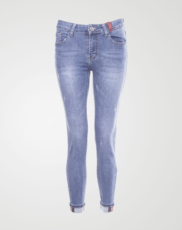 Image 1 of Womens Folded Hem Jeans color Blue and sizes XS, S, M, L, XL, XXL from Noroze