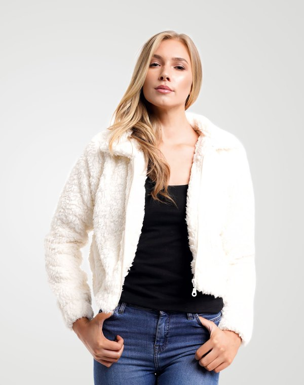 Image 1 of Womens Cropped Teddy Faux Fur Jacket color Cream and sizes 8,10,12 from Noroze