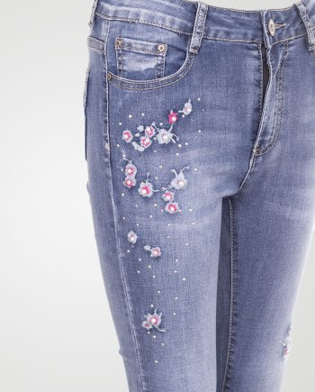 Image 2 of Womens Embroidered Denim Jean color Blue and sizes XS, S, M, L, XL, XXL from Noroze