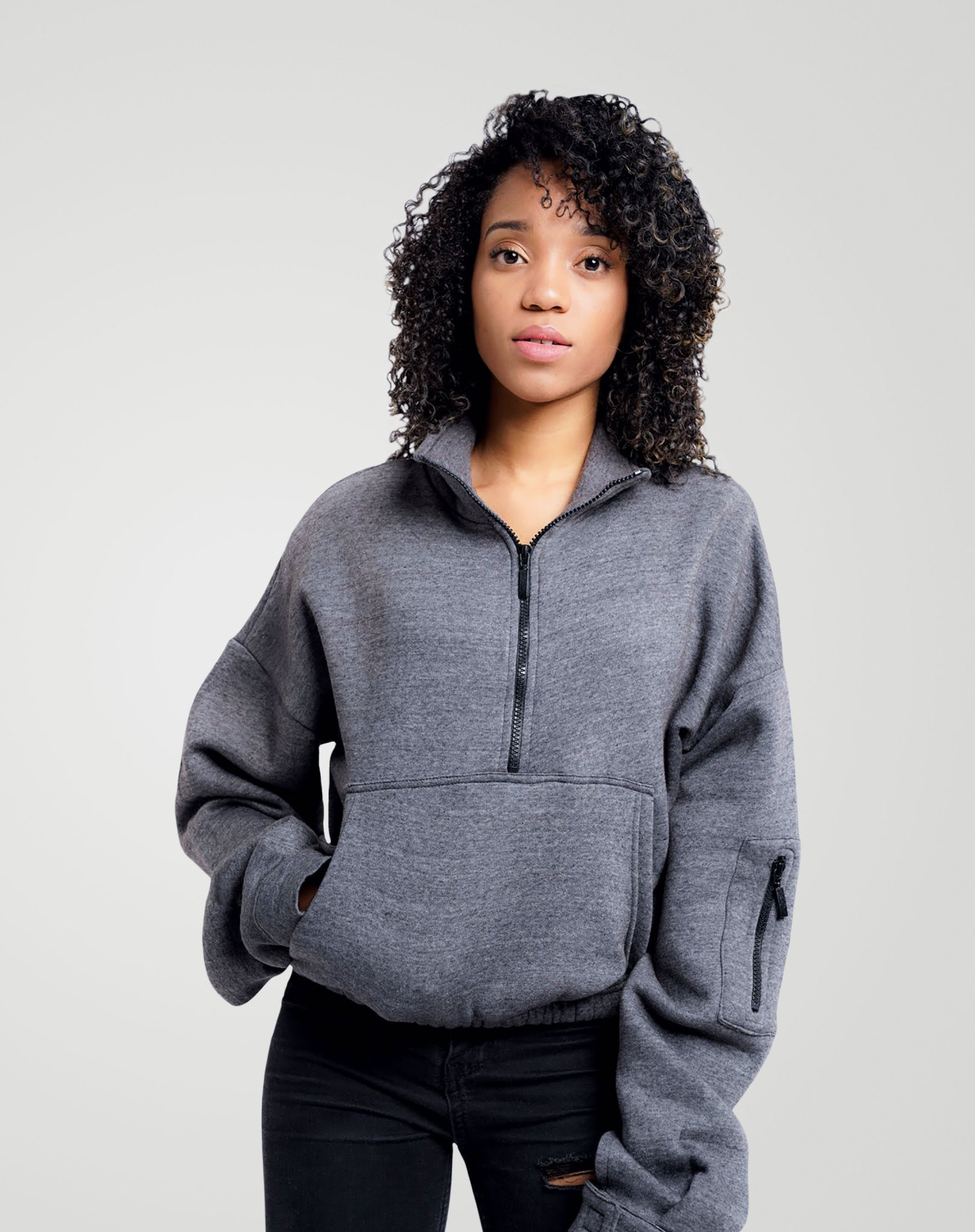Image 3 of Womens High Neck Crop Top Zipper Pullover color Grey and sizes 8,10,12 from Noroze
