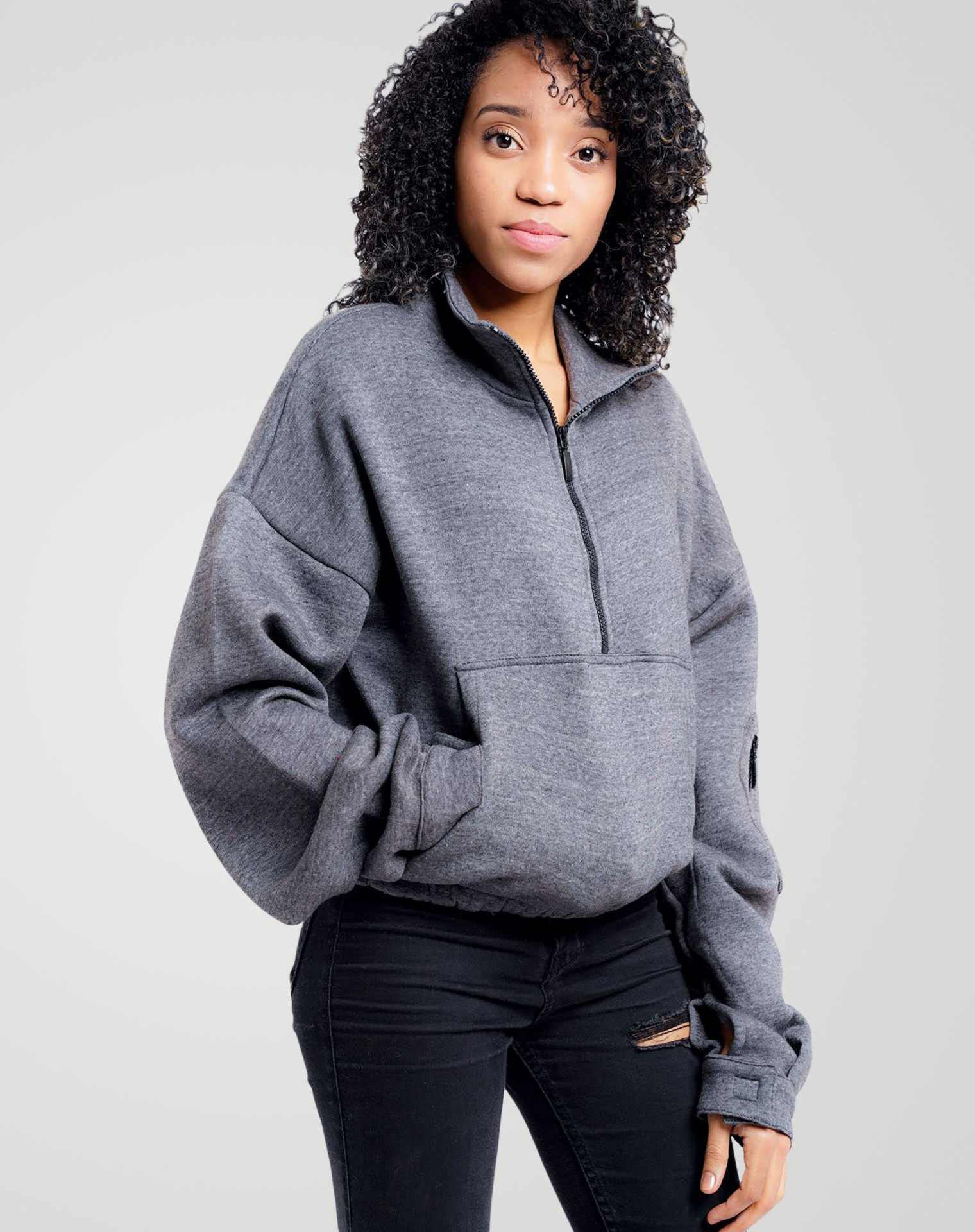 Image 4 of Womens High Neck Crop Top Zipper Pullover color Grey and sizes 8,10,12 from Noroze