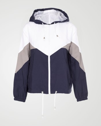 Image 1 of Womens Contrast Block Windbreaker Jacket color Navy and sizes XS, S, M, L, XL from Noroze