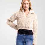 Image 1 of Womens Kangro Borg Crop Top color Stone and sizes 8,10,12 from Noroze