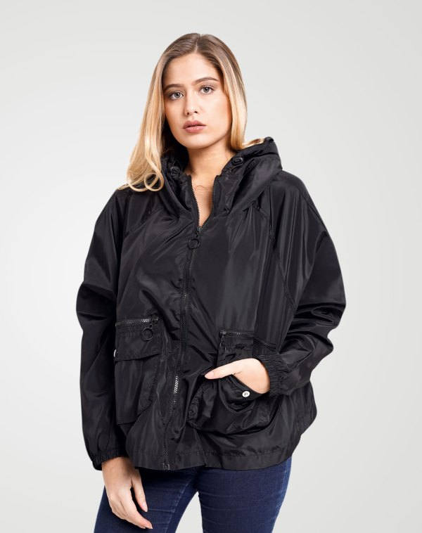 Image 1 of Womens Loose Light Waterproof Raincoat color Black and sizes S/M, L/XL from Noroze