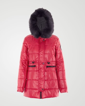 Image 1 of Womens Removable Fur Hood Jacket color Red and sizes S, M, L, XL from Noroze