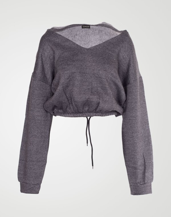Image 1 of Womens V Neck Hoodie Sweatshirt color Charcoal and sizes S, M, L, XL from Noroze