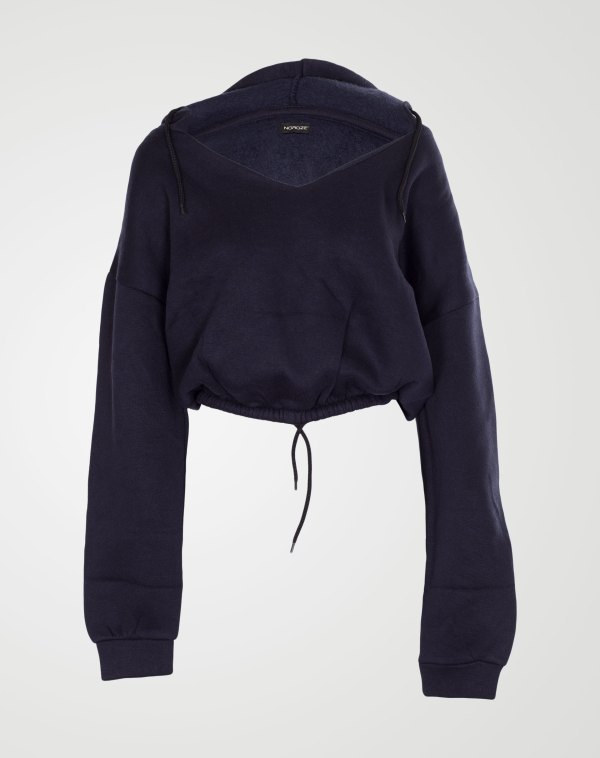 Image 1 of Womens V Neck Hoodie Sweatshirt color Navy and sizes S, M, L, XL from Noroze