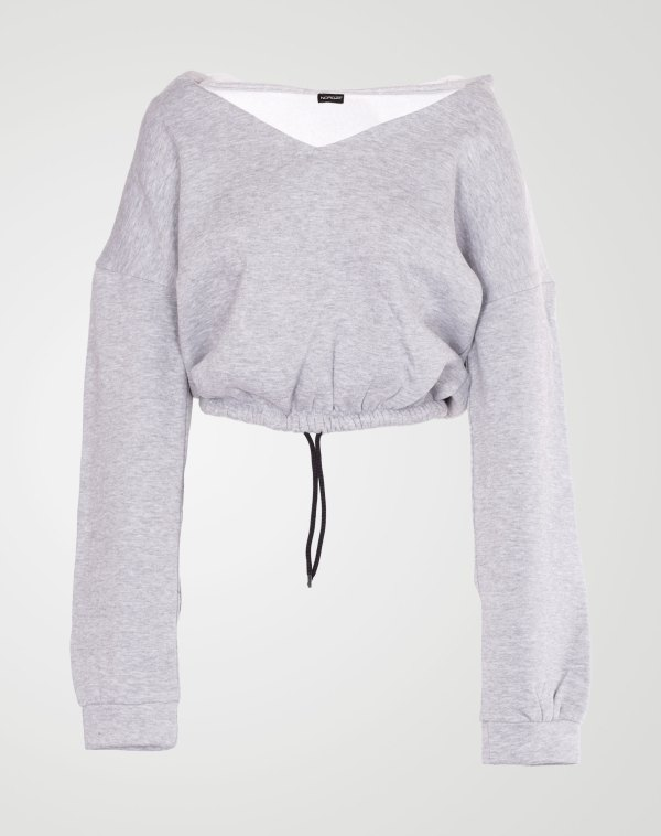 Image 1 of Womens V Neck Hoodie Sweatshirt color Grey and sizes S, M, L, XL from Noroze