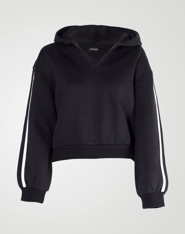 Image 1 of Womens V-Neck Striped Hoodie color Black and sizes S, M, L, XL from Noroze