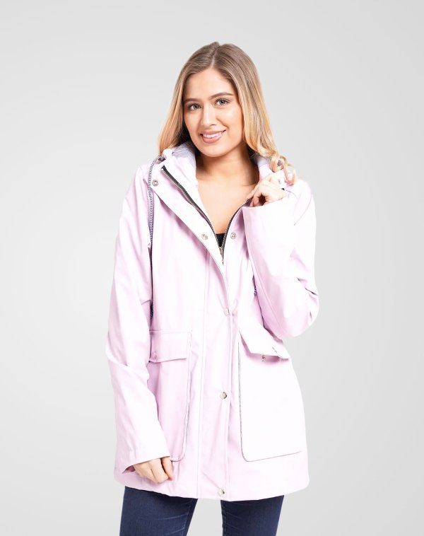 Image 1 of Womens Hooded Raincoat Jacket color Lilac and sizes 8,10,12,14 from Noroze